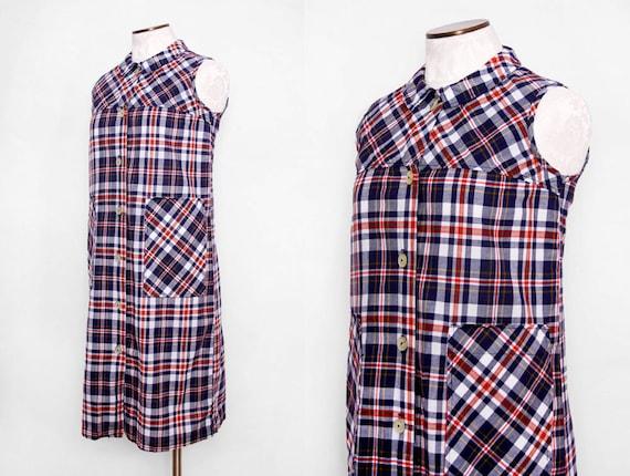 Vintage 60s Plaid Cotton Tent Dress with Pockets & Peter Pan Collar / Size Medium