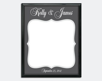 "Custom Wedding Guestbook Poster - Printable PDF - Fancy Frame - 16"" x 20"" - Personalized - Custom Colors"