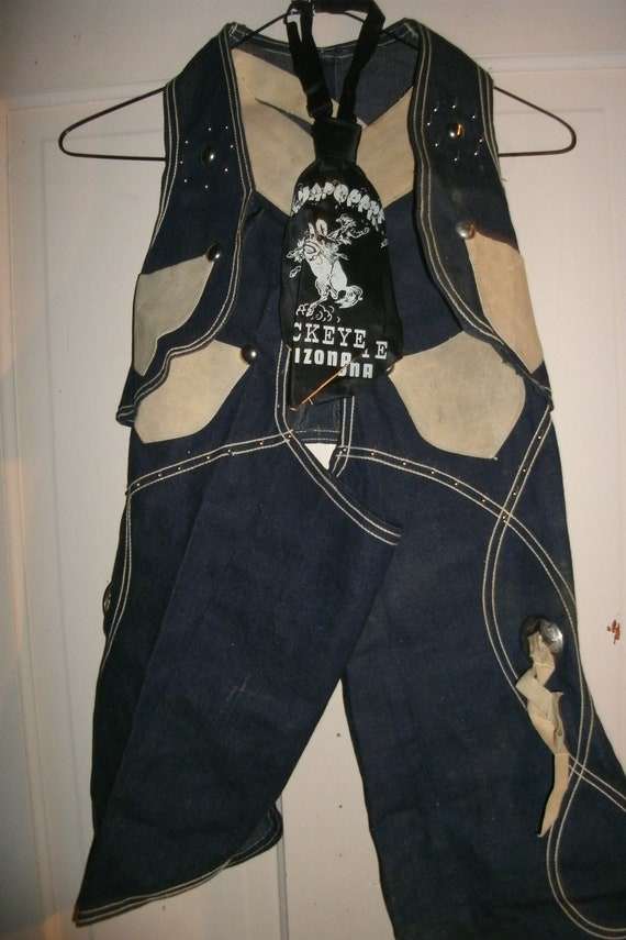 Vintage  cowboy outfit, vest, chaps, and Rodeo Bucking Bronco tie from Buckeye AZ