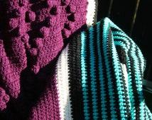 SALE Crochet Afghan Purple Popcorn Diamonds with Teal Black and Cream Stripes Blanket Bedspread