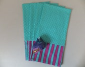 Turquoise Enormously Happy Dish Towels, Tea Towel Set