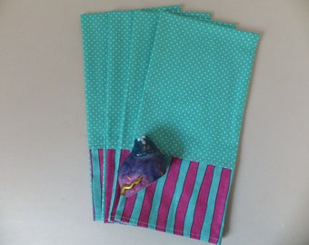 2 Turquoise Enormously Happy Dish Towels, Tea Towels