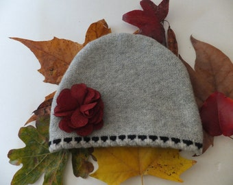 Wool Knit Winter Hat, Upcycled, Earthy Maroon Burlap Decoration