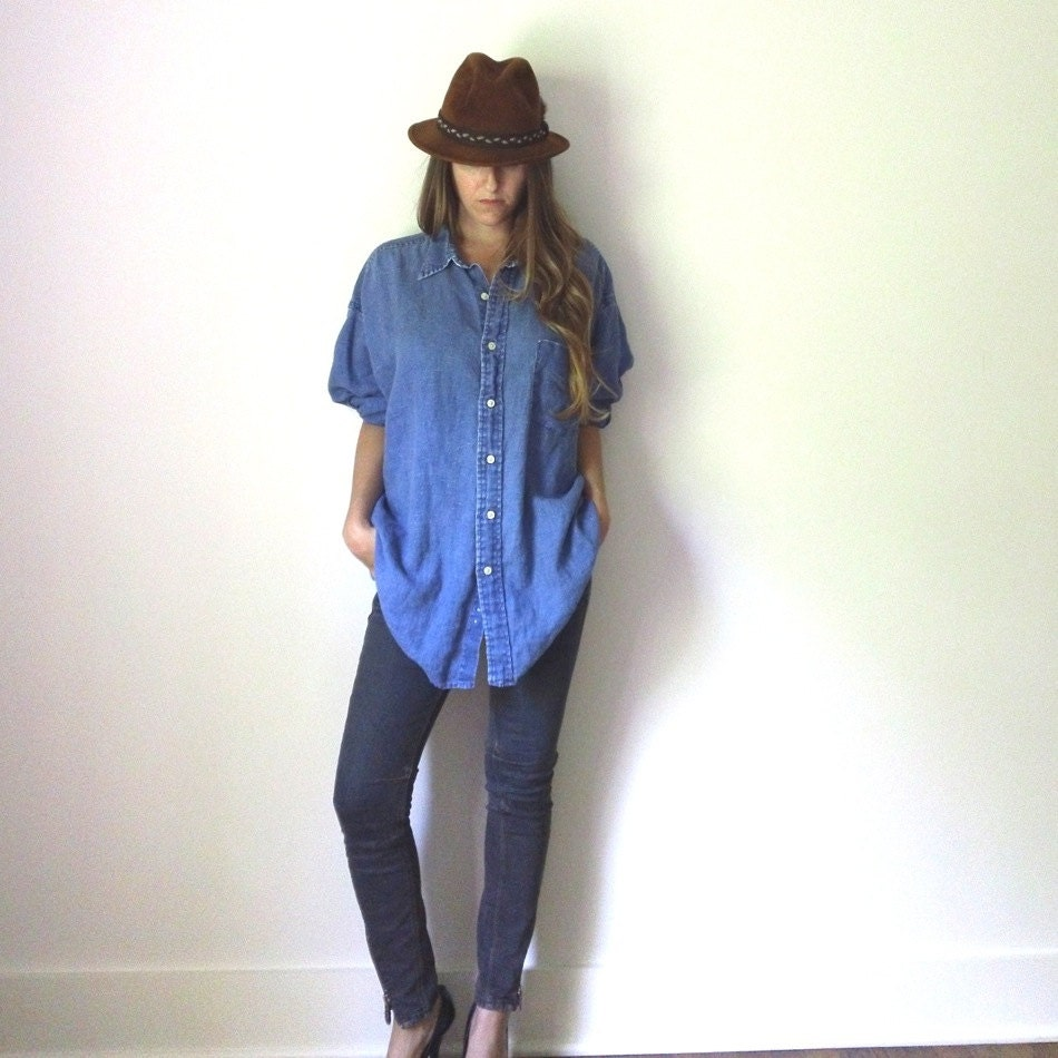 Slouchy chambray linen shirt womens button up by jacknboots for Linen button up shirt womens