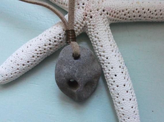 Scottish Natural Holey Stones(Hag Stones,Fairy Stones,Odins Stone) Surfers Necklace