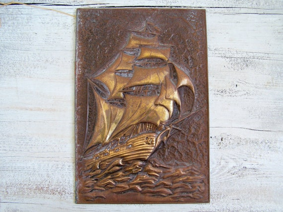 Vintage Nautical Wall Decor: Antique Sailboat Hammered Copper Wall Art Nautical Rustic