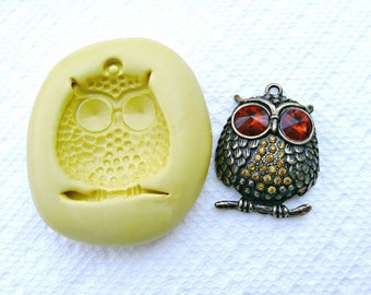 OWL Mold  -   silicone mold for any crafts, jewelry making, FIMO, Sculpey, wax, soap..