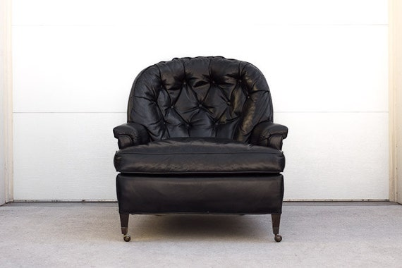 RESERVED Vintage Mid Century Tufted Black Leather Club Chair