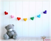 Rainbow banner/ garland/ bunting - felt hearts - Nursery decor - birthday decor - MADE TO ORDER