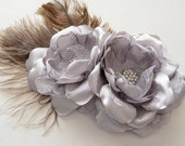Hair Clip - Silver Two Flower Hair Clip - Natural Ostich Feathers - Bridesmaid Clip, Photography Prop, Special Occassion, Satin and Lace