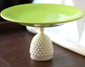 "12"" Cake Pedestal in Apple Green (almost Chartreuse Green ) / Ceramic Cake Stand / Cupcake Pedestal Wedding Pedestal / Dessert Pedestal"