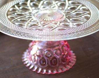"""Pink Cake Stand / 16"""" Wedding Pedestal for Pink Wedding Cakes, Pink Cupcakes, Pink Truffles, Pink Cake Pops, Pink Macarons, Pink Petit Fours"""