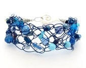 Crochet Wire Beaded Bracelet, Navy Blue