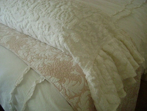 French Roses - White Vintage Chenille  - Large Cottage Chic, Ruffled Bed or Sofa Bolster - Body Pillow