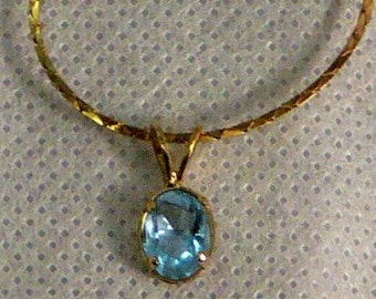 goldtone aqual glass stone necklace