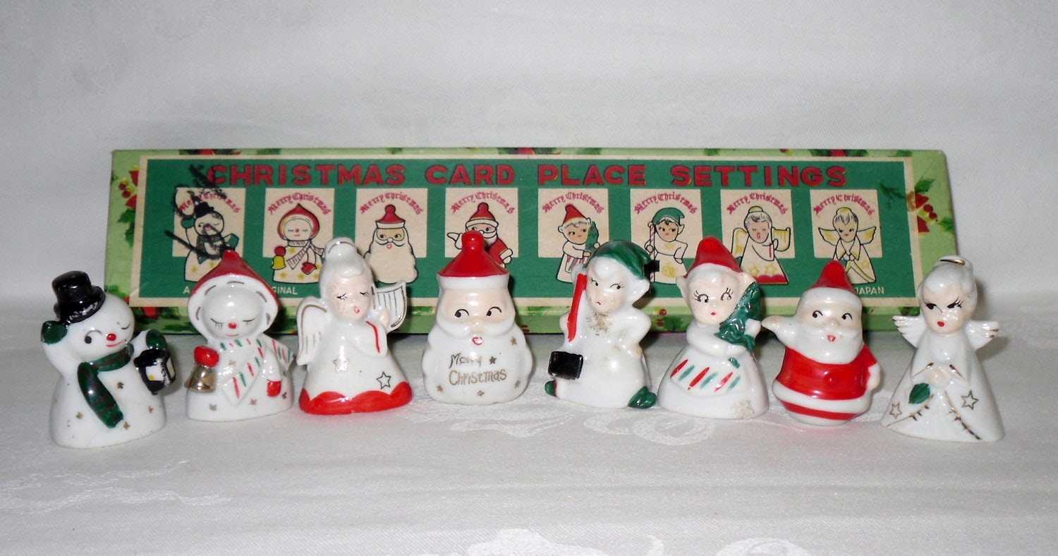 vintage christmas place card holders 8 figurines commodore. Black Bedroom Furniture Sets. Home Design Ideas