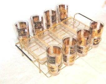 Vintage Cocktail Service Set Glasses Tumblers Vintage Barware Tray Serving Gift for Him Black Gold Serving Set Barware Holiday Serving Gift