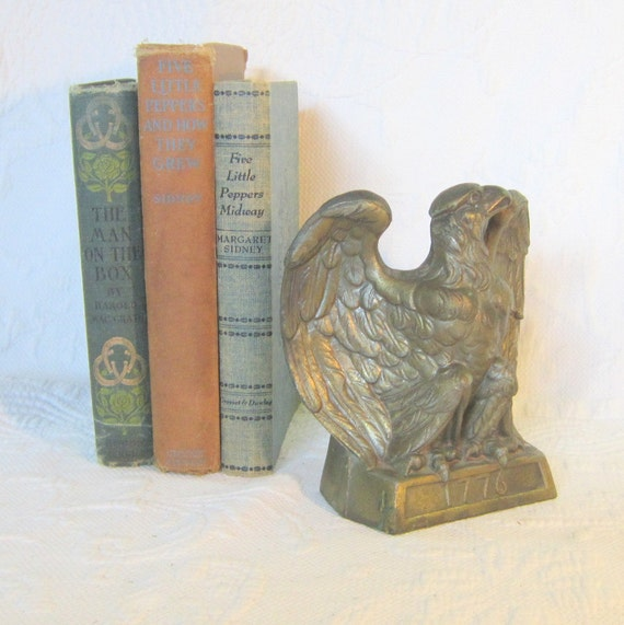 Vintage Brass Book End Eagle Brass Eagle Home Decor Books American Colonial Gift for Him Vintage