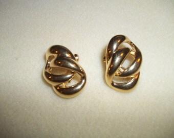 Lovely Napier Golden Double Loop Clip On Earrings