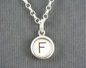 Vintage typewriter key jewellery - letter F key set in solid silver  -  silver belcher chain necklace. Men or women.