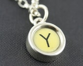 Typewriter key jewellery - LETTER Y  vintage typewriter key set in solid silver  -  silver belcher chain necklace. Men or women.