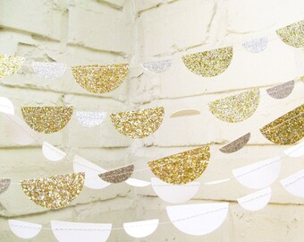 The Petite Glam Scallop Garland, Wedding Garland, Gold, Silver, Glitter, Wedding Shower, Baby Shower, Birthday Decoration