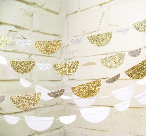The Petite Glam Scallop Garland, Wedding Garland, Gold, Silver, Glitter, Wedding Shower, Baby Shower, Birthday Decoration