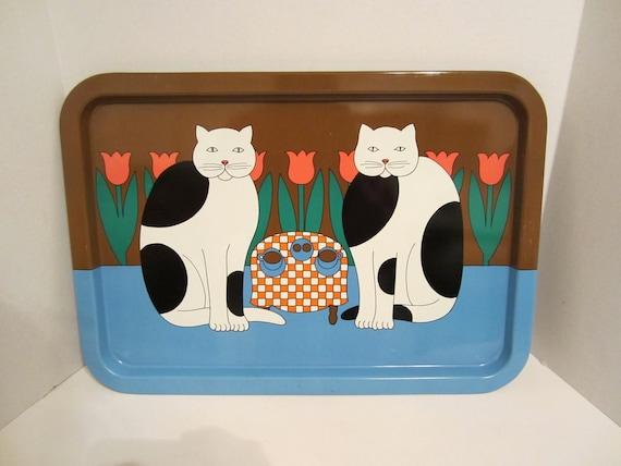 Vintage Tin Cat Tray