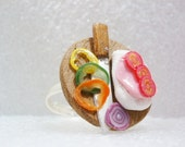 Open Sandwich Ring.  Polymer Clay.