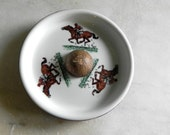 Pipe Ashtray Horse Racing Motif Leather Base FRANCE