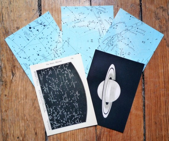 5 celestial postcards  -  set of five gorgeous glossy postcards - planet saturn stars constellation astronomy