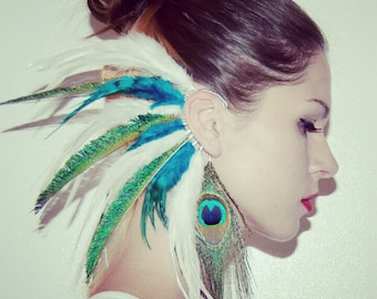 Feather Ear Cuff, Ear Cuff, Feather Earrings, Hippie, Bohemian, Hair Headpiece, Festivals, OOAK, Ear Jacket