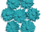 Set of 7 Teal Green Fabric Dahlias Fabric Flowers Dahlia for Scrapbooking Head Bands and Crafts (M)