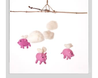 Needle Felted Baby Mobile - when pigs fly