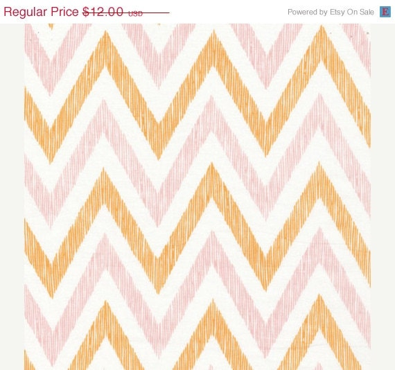 HOLIDAY SALE ORGANIC Cotton Fabric, Chevrons in Peachy, Simpatico by Michelle Engel Bencsko for Cloud9 Fabrics, 1 Yard