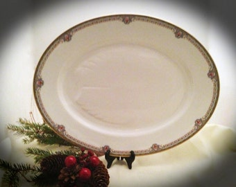 """LIMOGES 17"""" MEAT or Turkey Serving PLATTER  w/ tree well  - from Bernardaud & Co- 1930s - Free Shipping"""