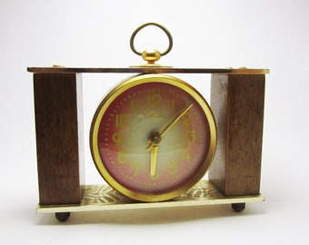 Beautiful VINTAGE wooden WIND up CLOCK, use for home decor.