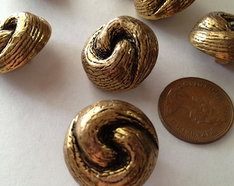 Vintage Knot Gold and Black Tone Dome Shank Buttons Lot of 8