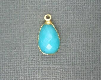 Sea Blue Jade Quartzite Drop pendant charm edged with gold (S7b5-01)