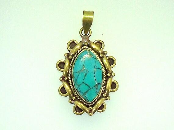 Turquoise with Brass Tibetan Mosaic Pendant