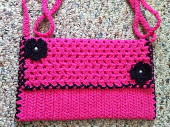 Crochet Neon Pink and Navy Purse With Flower, Crochet Bag, Dark Pink and Navy Crochet Bags, Usa Seller