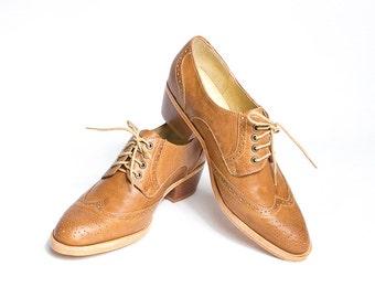 honey brown oxford brogues shoes cuban heel - FREE WORLDWIDE SHIPPING