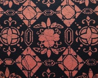 Japanese silk, black and orange diamonds