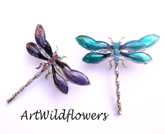 Dragonfly Brooch - Rhinestone Drafonfly Pin - Choose Color