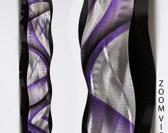 "Metal Wall Art Curved Art Wall Sculpture Abstract Metal Art Purple ""Rythmic Curves"" by Brian M Jones Modern Paintings & Decor"