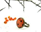Orange, Black Polka Dot, Black, Autumn, Fall, Halloween, Adjustable Ring (3-6R) - Free worldwide shipping, Halloween Fashion, Fall Trends