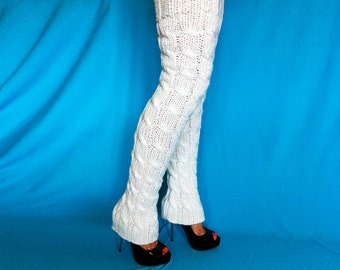 knit white Winter Accessories Extra long Knitted leg warmers in white womens gifts teen