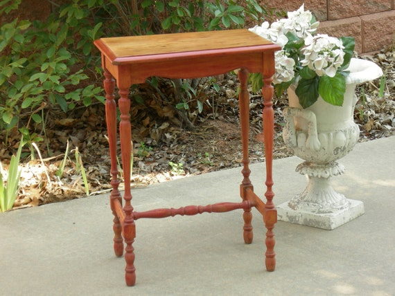 WOOD TABLE - Nightstand Chic Rustic Weathered Red Shabby Lamp Side End Bedside Furniture