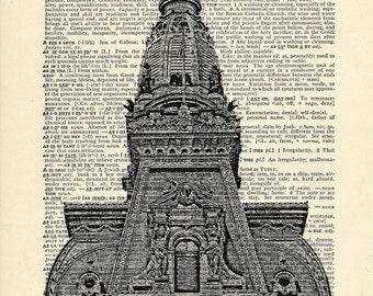 Philadelphia City Hall William Penn Pennsylvania Printed on Upcycled Vintage Dictionary Paper - 7.75x11