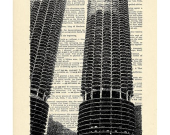 Marina City Chicago Dictionary art vintage on Upcycled Vintage Dictionary Paper - 7.75x11 under 10